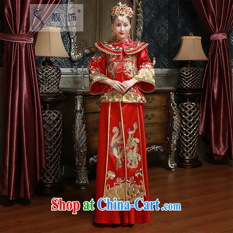 Beautiful ornaments 2015 new show reel service new marriages toast serving Chinese long red festive outfit Kit red XXL