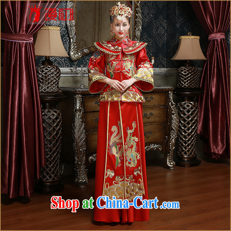 Definition 2015 early New Sau WO Service Bridal toast serving red retro long cheongsam red XL code