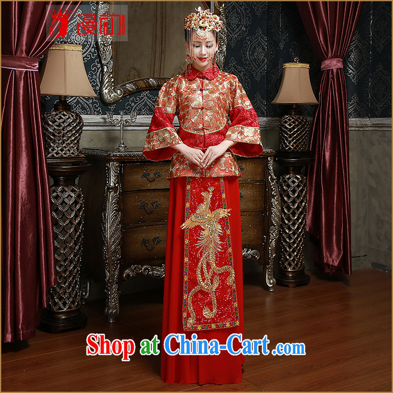 Definition 2015 early New Sau Wo service marriages toast serving Chinese Antique red dragon skirt of red XL code