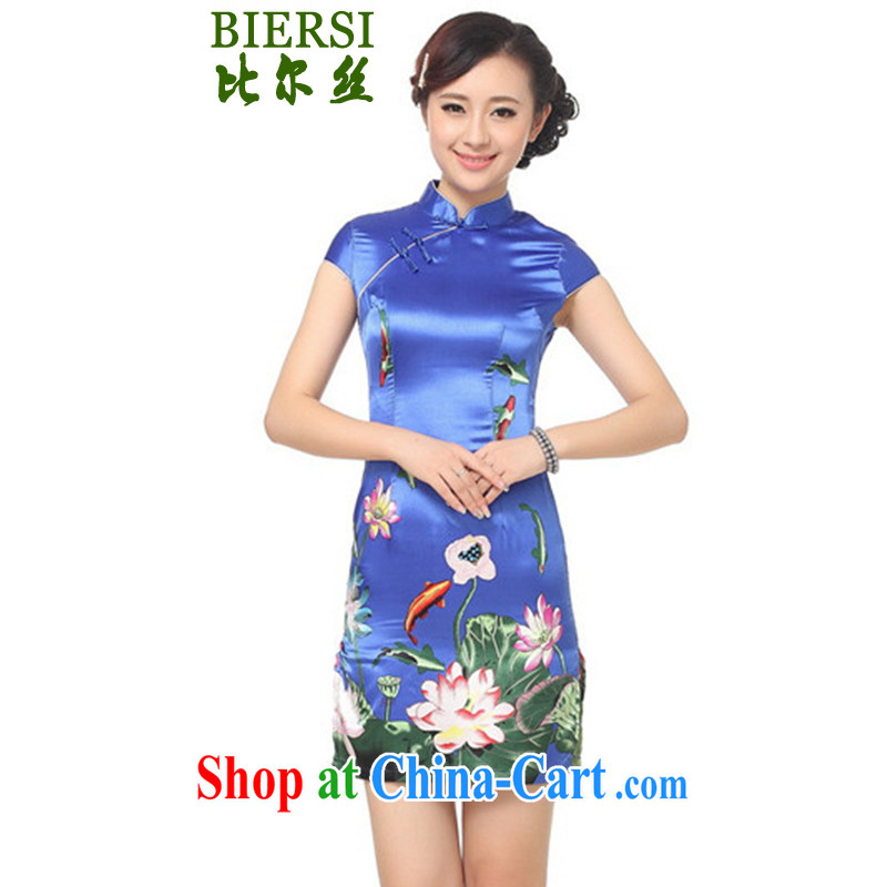 Carl Bildt, summer new female Chinese qipao, for a tight short, cultivating Lotus cheongsam dress - A PO Blue #2 XL