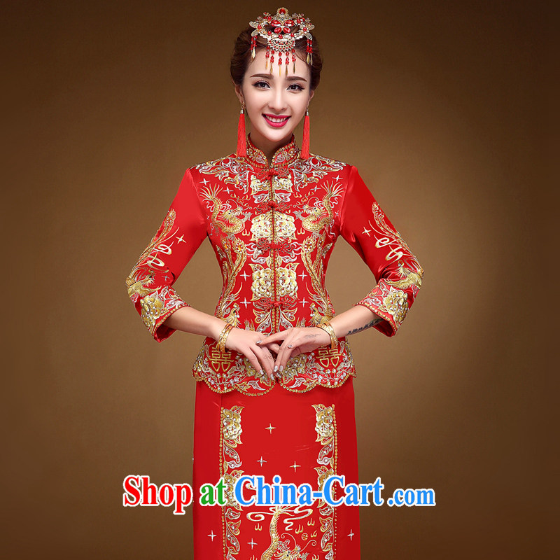A good service is 2015 new winter Chinese brides retro wedding dress qipao toast serving Phoenix and skirt and red 2 XL