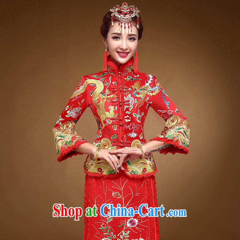 A good service is 2015 new winter Chinese bridal dresses toast clothing retro wedding dress Phoenix use use skirt red 2 XL