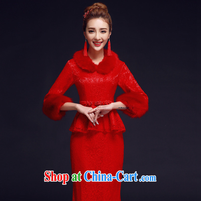 A good service is 2015 new winter Chinese red brides with wedding dress retro long cheongsam dress uniform toasting red XL