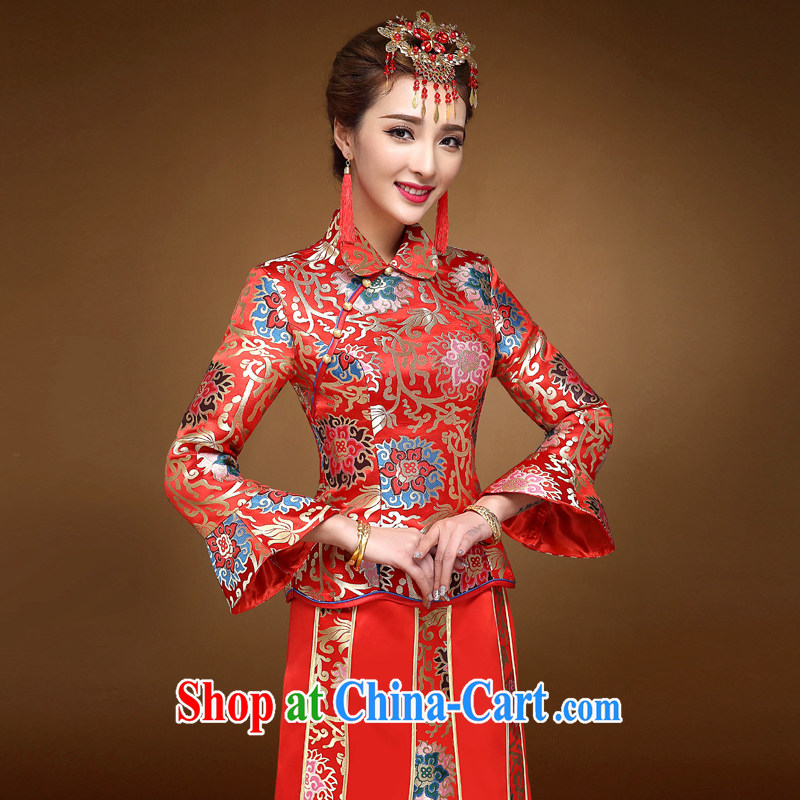 A good service is a 2015 winter new bride with Chinese red wedding dress toast wedding clothes married clothing cheongsam red 2 XL