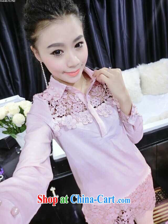 Red Star 2015 new stylish lounge flower Openwork decoration Pearl cuff long shirt T-shirt pink L