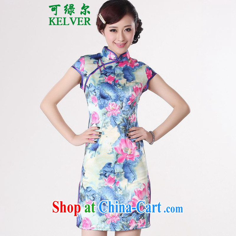 To Green, stylish new clothes Chinese qipao, for a tight cultivating Lotus cheongsam dress pink flower 2 XL