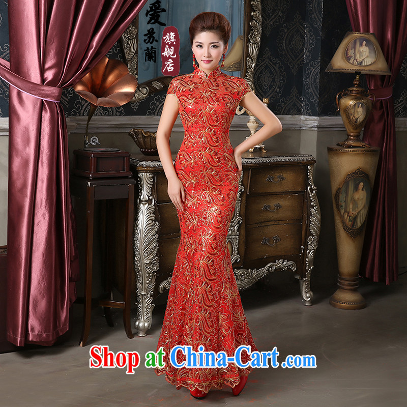 New dresses wedding dresses short stylish improved Chinese bows service bridal dresses wedding dresses bride married to the cheongsam red XXXL