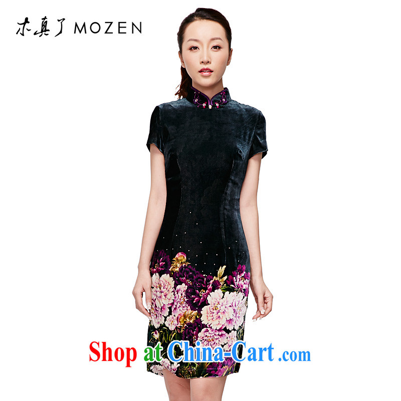 Wood is really the 2015 spring and summer New Silk Velvet stamp short cheongsam Chinese Dress 11,731 14 dark green M