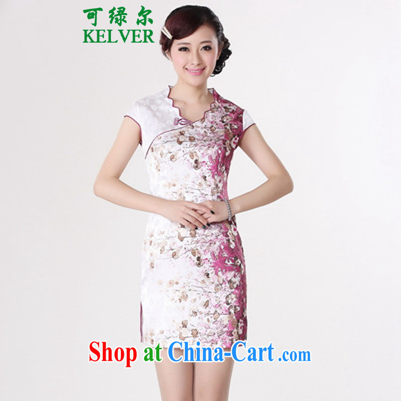To Green's new clothes antique Chinese qipao with classical-tie floral beauty short, short-sleeved cheongsam dress red 2 XL