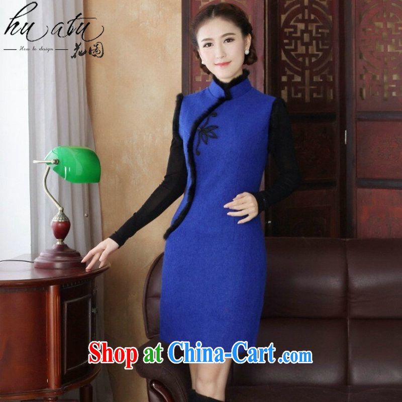 Take the 2015 ladies' dresses Chinese autumn and winter folder cotton cheongsam dress wool is Chinese, for improved cheongsam dress in figure 3XL offending do not take