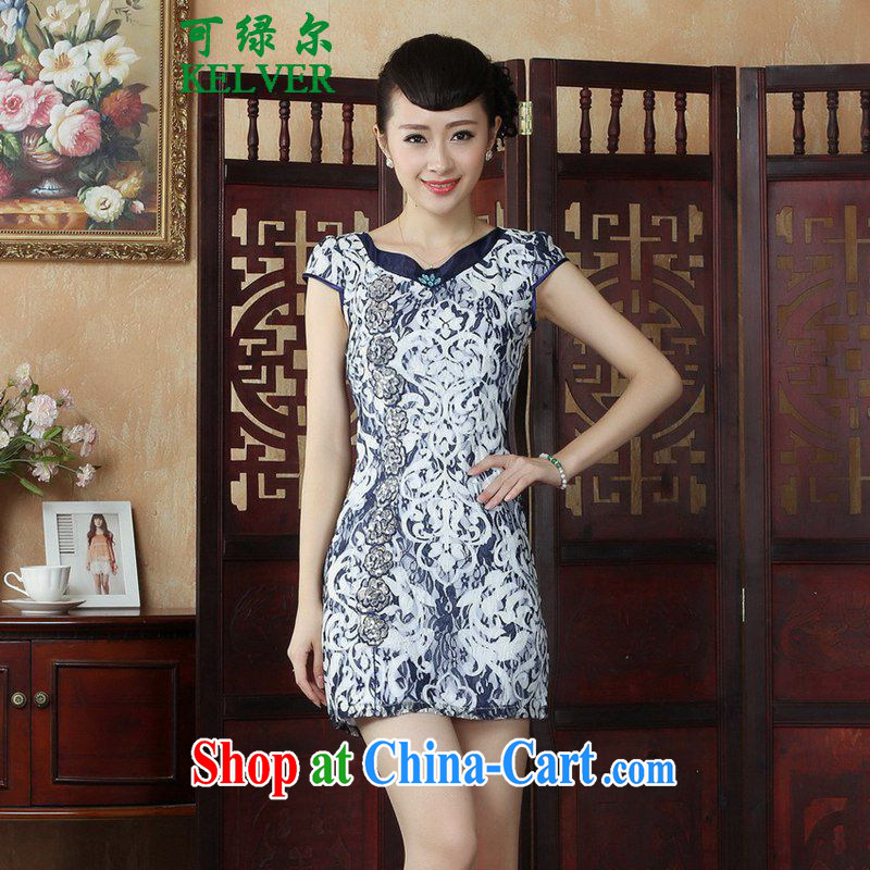 To Green, stylish new clothes Chinese qipao rounded ends fancy beauty short cheongsam dress as shown S