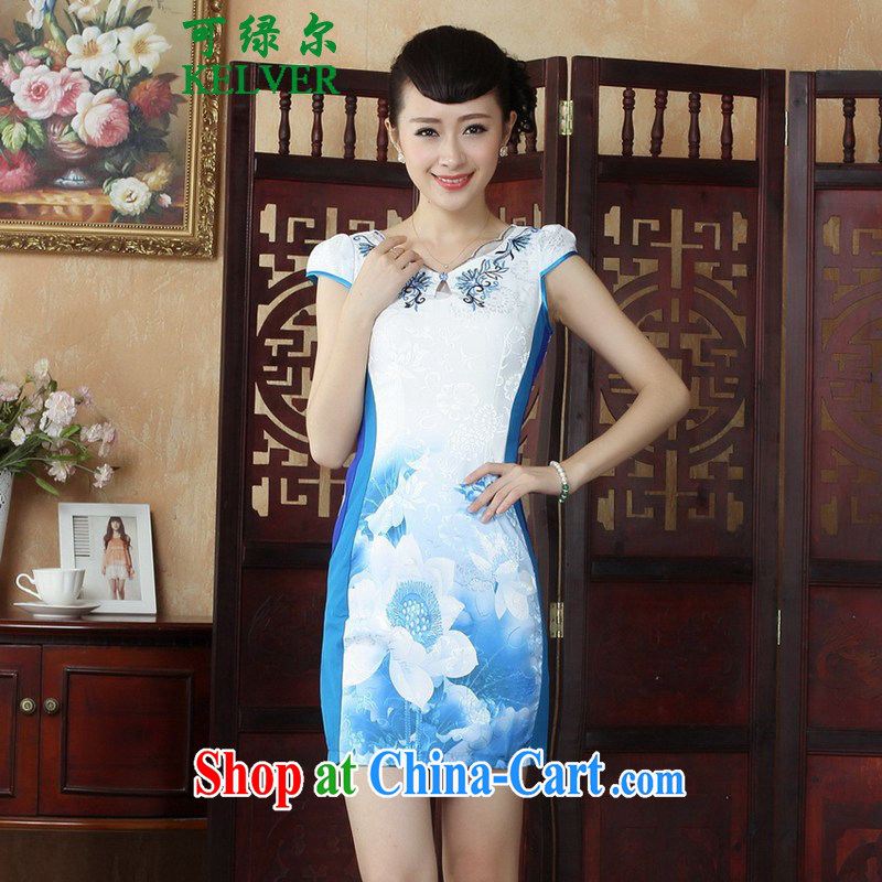 To Green, Chinese Wind and stylish improved female Chinese qipao retro beauty short Lotus cheongsam dress as figure 2 XL