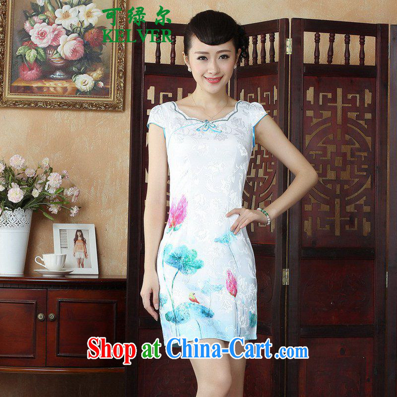 To Green, antique Chinese style improved female Chinese qipao the flap Classic tray for cultivating short cheongsam dress as figure 2 XL