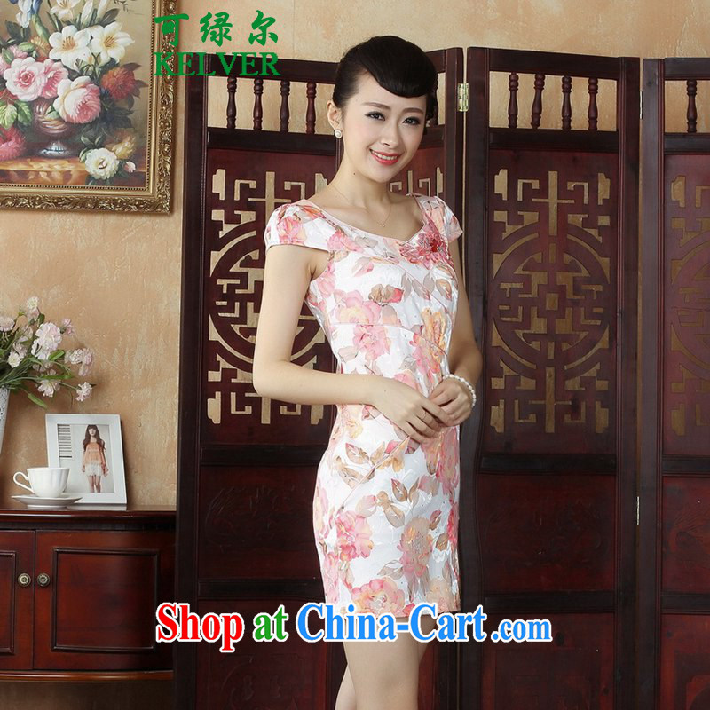 To Green, stylish new ladies improved Chinese qipao the flap embroidered beauty short cheongsam dress as S
