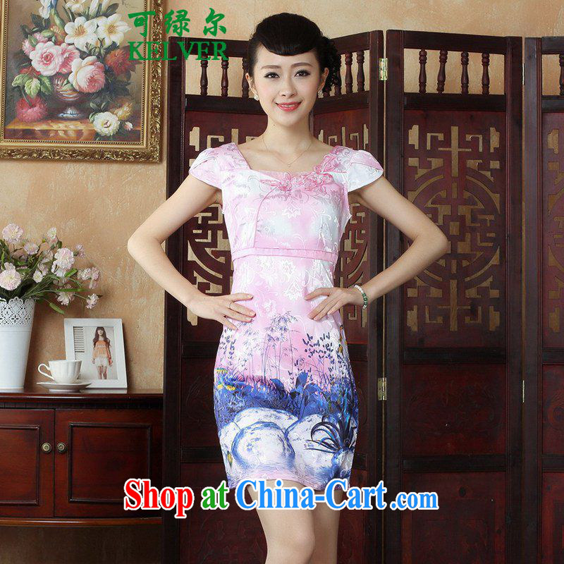 To Green, stylish new ladies improved Chinese qipao round-collar embroidered short sleeves cultivating short cheongsam dress as figure 2 XL