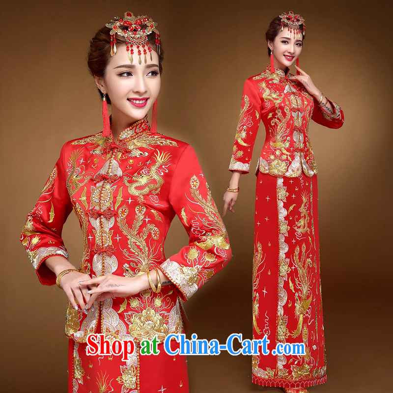 A good service is 2015 winter red new Chinese brides marry Yi wedding dress toast serving Phoenix and skirt and red 3 XL