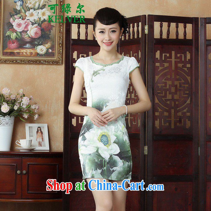 To Green, China wind stylish improved Chinese qipao the flap Classic tray for cultivating short cheongsam dress such as figure 2 XL