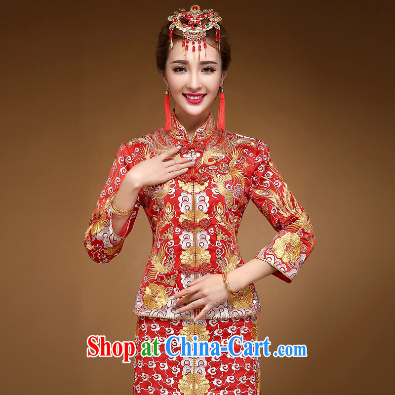 A good service is 2015 winter new chinese red bridal wedding dress marry Yi Su-wo service use phoenix dress and red 2 XL - 15 code