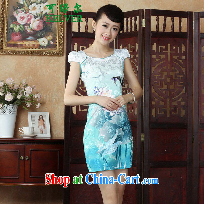 To Green, new, antique Chinese qipao the flap to spend cultivating short, short sleeves cheongsam dress such as figure 2 XL