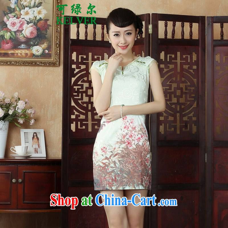 To Green, Retro ethnic style in a new, female Chinese qipao with stamp duty cultivating short cheongsam dress as shown S
