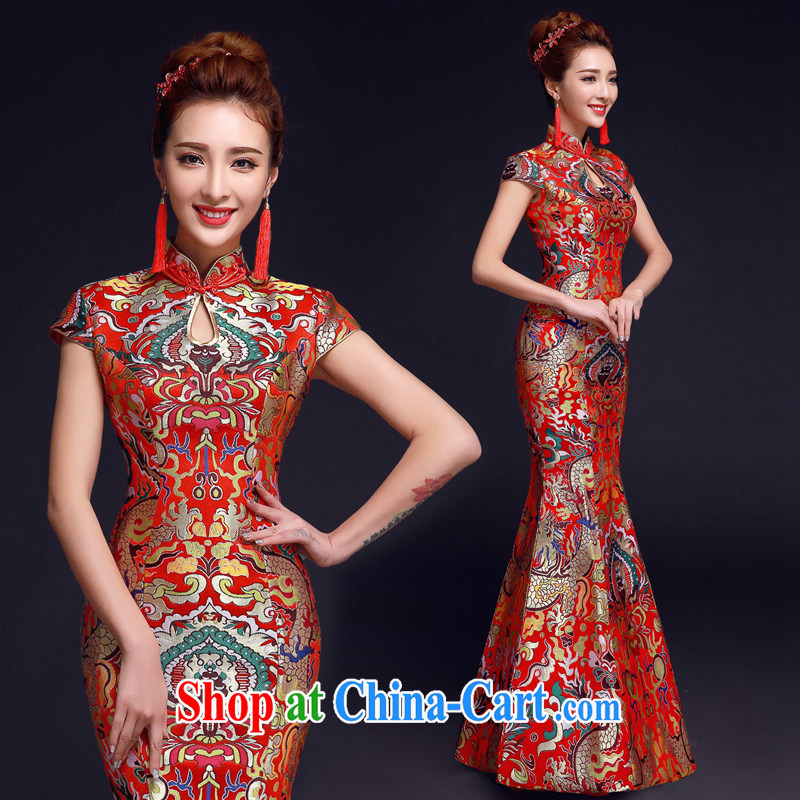A good service is 2015 red winter new bride with Chinese woman wedding dress toast clothing qipao crowsfoot red 2 XL
