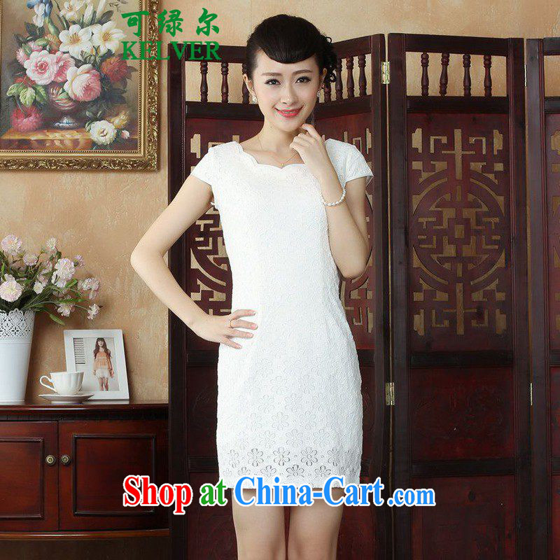 To Green's new clothes improved Chinese qipao the flap lace flower cultivation short cheongsam dress as figure 2 XL