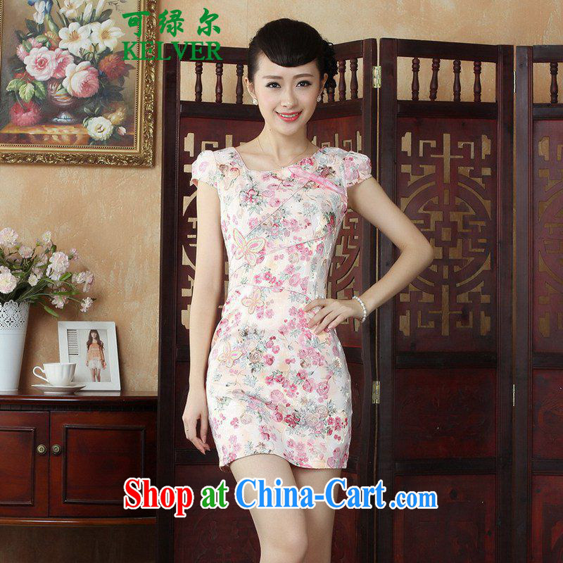 To Green's new improved Chinese qipao rounded ends fancy short, cultivating short-sleeved cheongsam dress in figure M