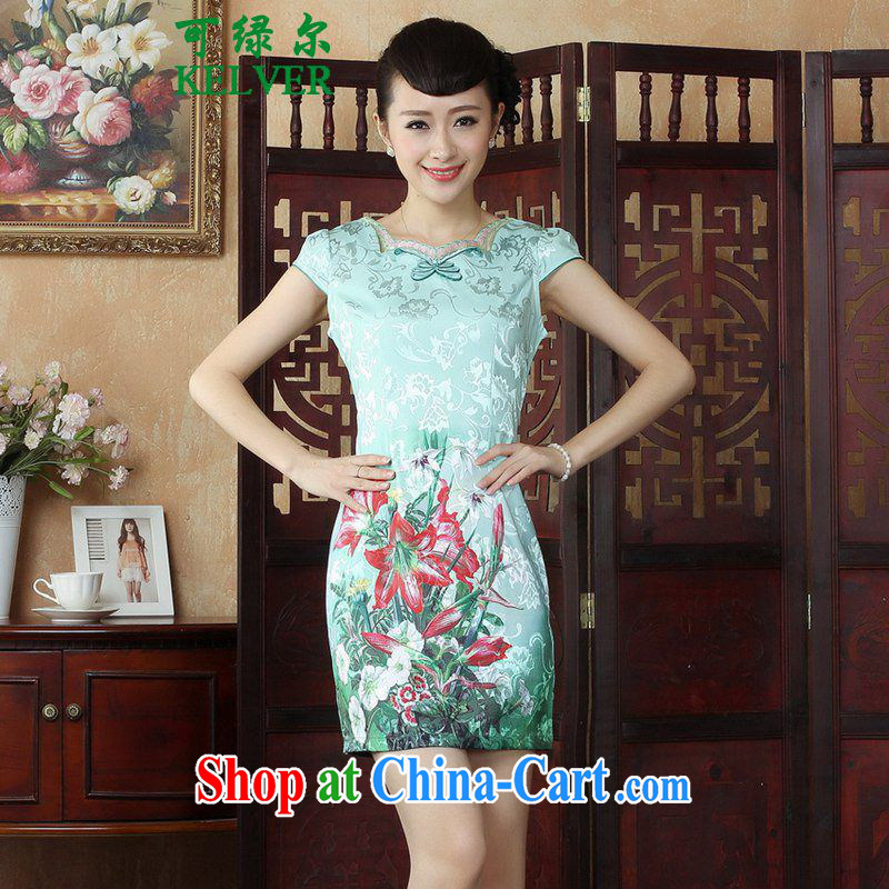 To Green's new female name Ethnic Wind antique Chinese qipao with stamp duty cultivating cheongsam dress as M
