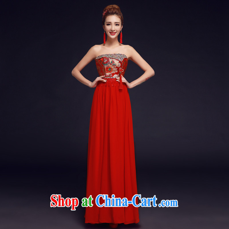 A good service is 2015 new Chinese brides red erase chest long wedding dress toast clothing qipao married Yi red 2 XL