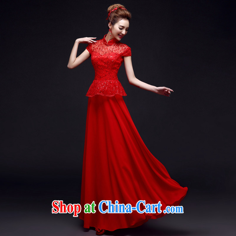 A good service is 2015 winter New red Chinese woman Bride With wedding dress toast clothing dresses summer red 2 XL