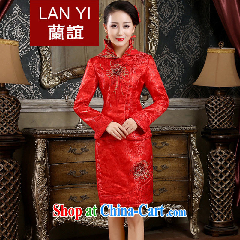Friends, winter bridal wedding dress cheongsam dress retro thick winter dresses package bridal toast dress red M code waist 2 feet