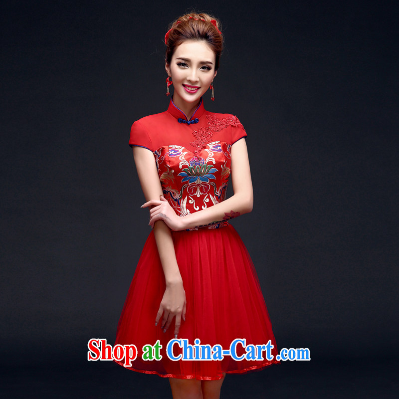 A good service is 2015 winter new bridal red wedding dress toast serving short dresses summer red M