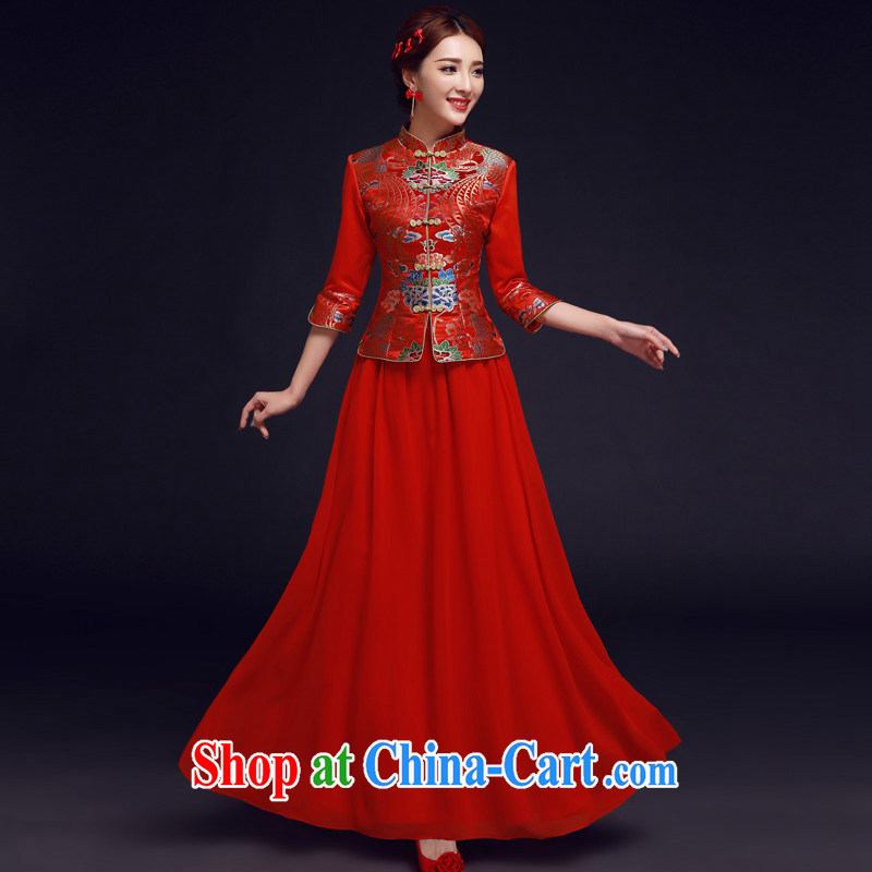 A good service is 2015 new winter red brides with wedding dress Chinese Antique long cheongsam dress uniform toasting red 2 XL