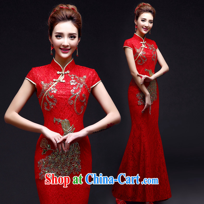 A good service is 2015 New Red brides with wedding dress Chinese married Yi bows clothing cheongsam long crowsfoot red 2 XL