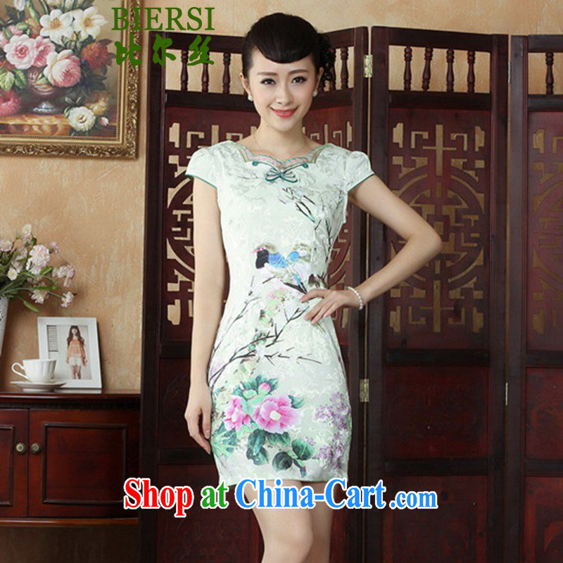 Bill's new National wind antique Chinese qipao Classic tray port stamp duty cultivating short-sleeved cheongsam dress such as figure 2 XL