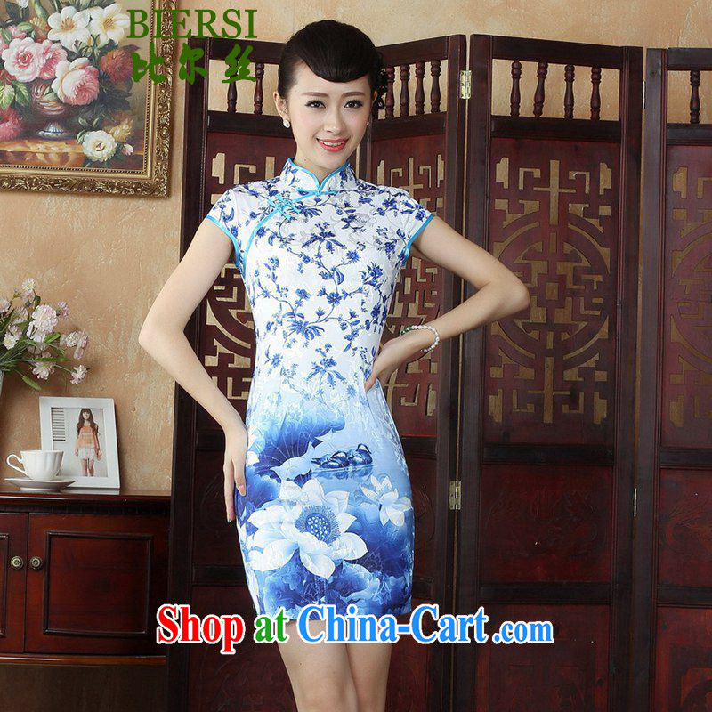 Carl Bildt, New Women with antique Chinese qipao, for the hard-pressed floral beauty short, short-sleeved cheongsam dress as figure 2 XL