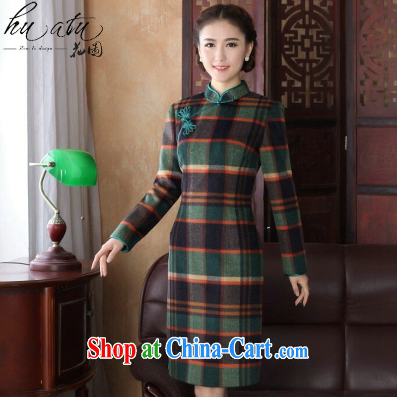 Take the 2015 ladies Spring and Autumn and new dresses Chinese Chinese improved, for wool so long-sleeved 1000 birds, qipao gown 1000 birds, XL