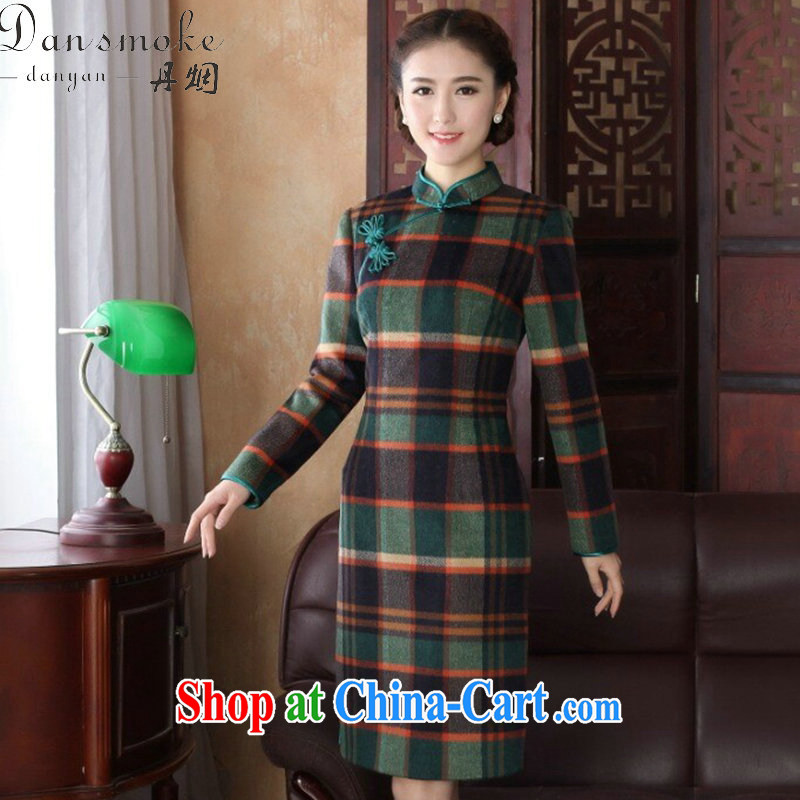 Bin Laden smoke 2015 ladies' spring new cheongsam Chinese Chinese improved the collar wool? 1000 long-sleeved bird the cheongsam dress 1000 bird 3 XL