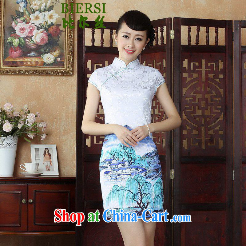 Carl Bildt, Retro ethnic style in a new, Chinese qipao, for a tight budget classical landscapes beauty stamp duty cheongsam dress in figure 2 XL