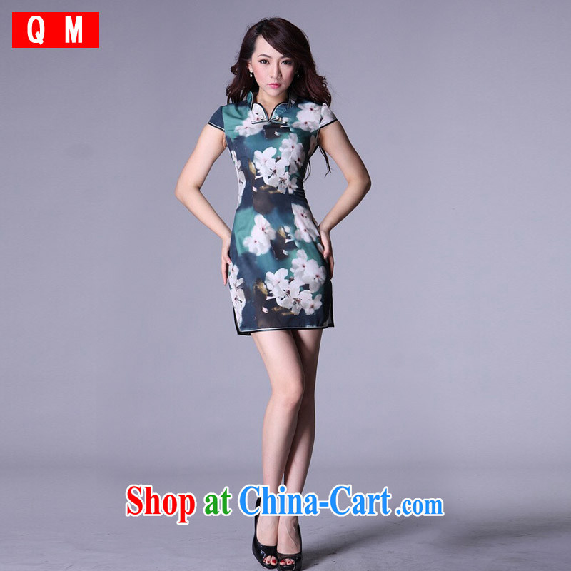 Light _at the end QM_ Improved cheongsam stylish Chinese large code dresses bridal wedding dresses antique XWGQP 006 - 4 picture color S