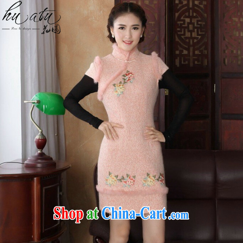 spend the winter cheongsam dress Chinese Chinese improved, for rabbit hair retro wool? embroidery Peony dress dress pink 2 XL
