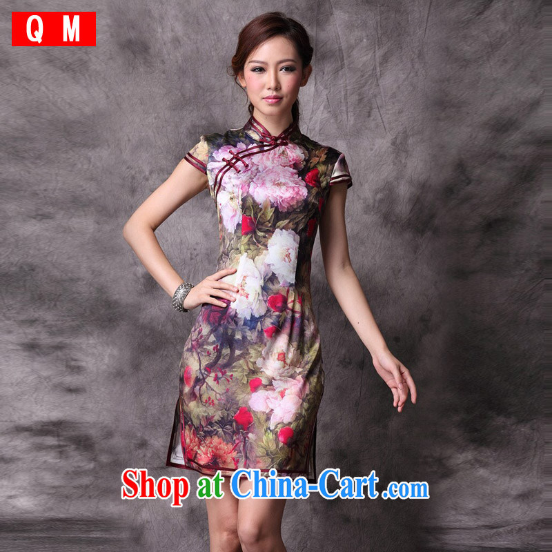 Light (at the end) QM silk retro improved cheongsam toast serving XWG picture color XXXL