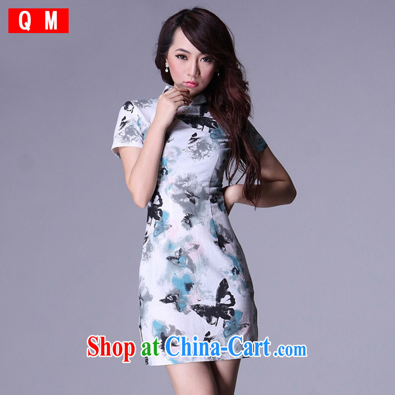 Light _at the end_ QM cheongsam improved summer antique Chinese cotton the linen dresses XWGQP 009 - 4 picture color XXXL