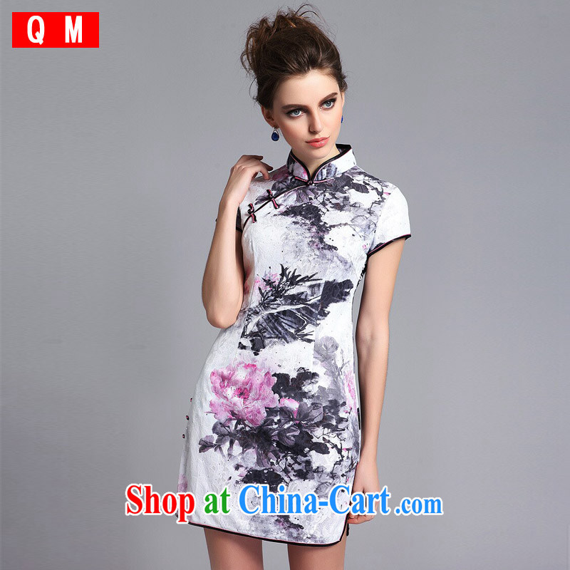 Light _at the end_ QM lace composite, nostalgic retro-'s short cheongsam XWGQF 140,211 picture color XXL