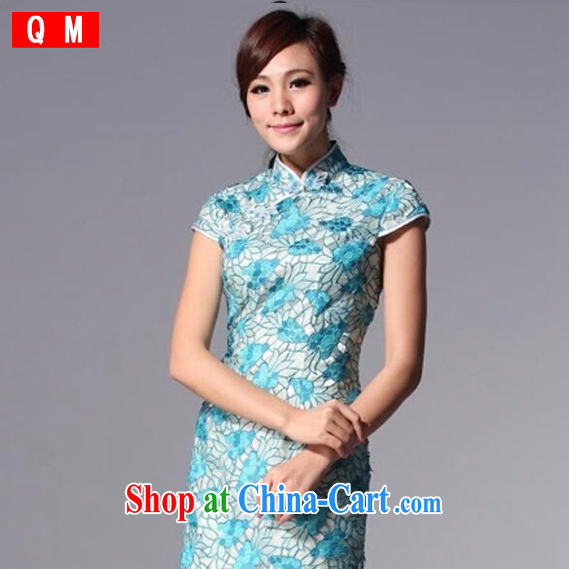 Light (at the end QM) Chinese Antique style improved cheongsam Openwork marriages bows dress XWGQP 110 - 3 blue XXXL
