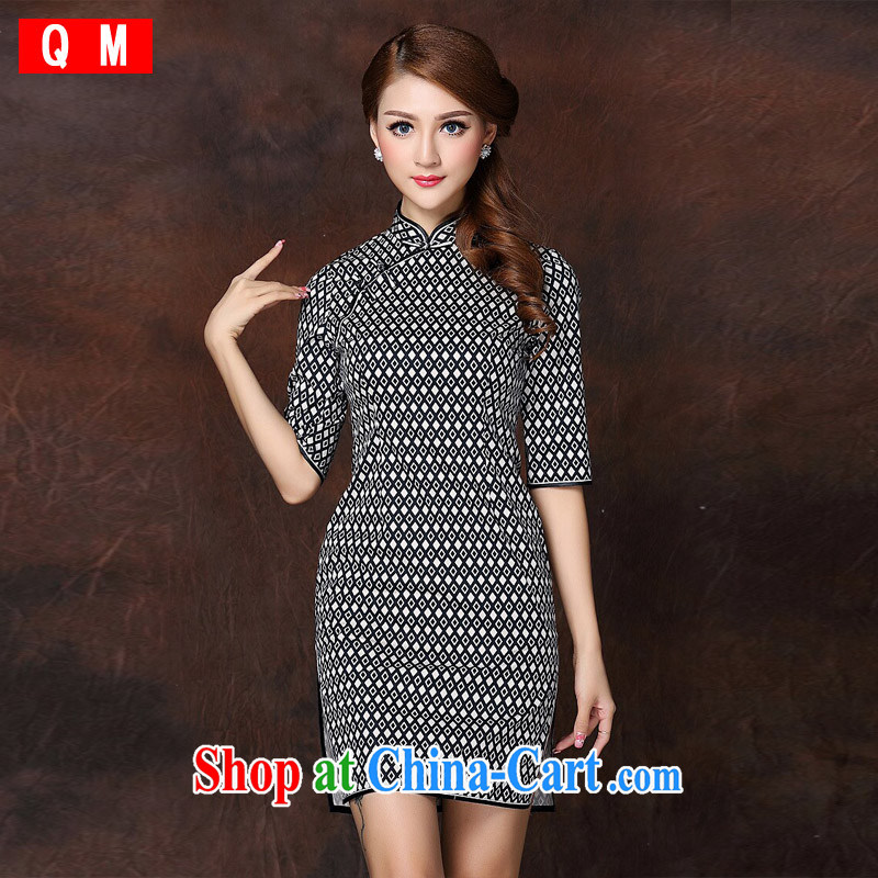 Shallow end _QM_ Ethnic Wind improved Stylish retro in short sleeves cheongsam XWGQF 141,005 picture color XXL