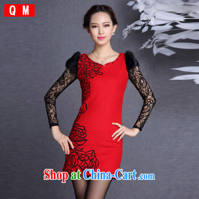 Light (at the end), QM stylish rabbit hair cuff is gross Body Short cheongsam XWG red XXL