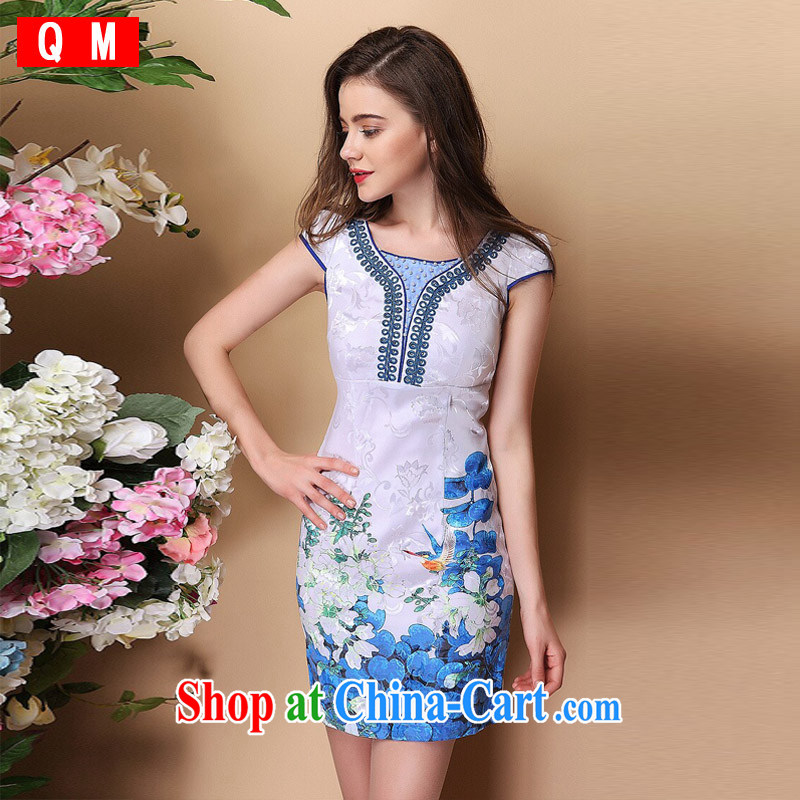 Shallow end (QM) Improved stylish short-sleeve the Pearl River Delta (PRD does not open's elegant qipao skirts XWGQF 140,311 picture color XXL