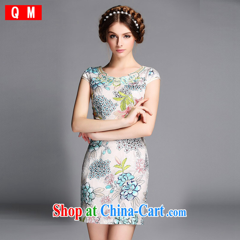 Shallow end _QM_ Improved fashion round collar Embroidery is not the Lao short cheongsam XWGQF 140,602 picture color XXL