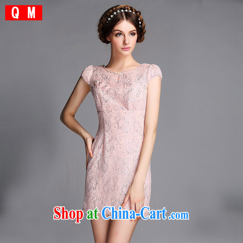 Shallow end _QM_ Improved fashion round for the Pearl River Delta _PRD lace Openwork is not the Lao short cheongsam XWGQF 140,605 picture color XXL
